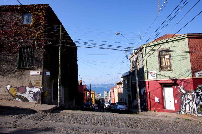Valparaiso street view of the ocean