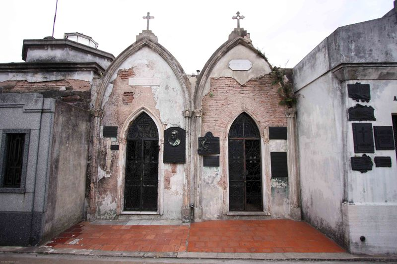 two old tomb facids at recoleta cemetery