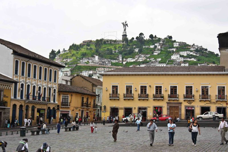 Central square with the Virgin of Quito statue in the distance