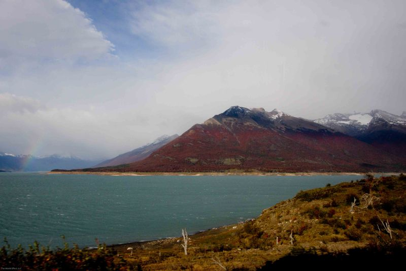 Fall colors and a rainbow in southern Patagonia