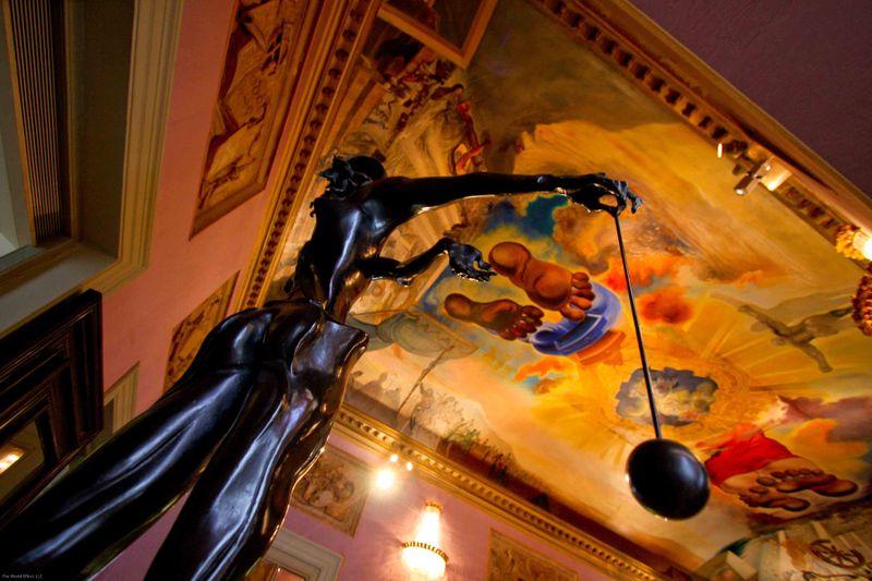 Sculpture & Ceiling Mural. Dali Museum. Figueres, Spain.