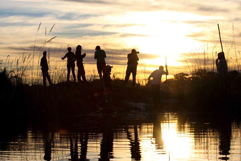Okavango Delta - Group at Sunset