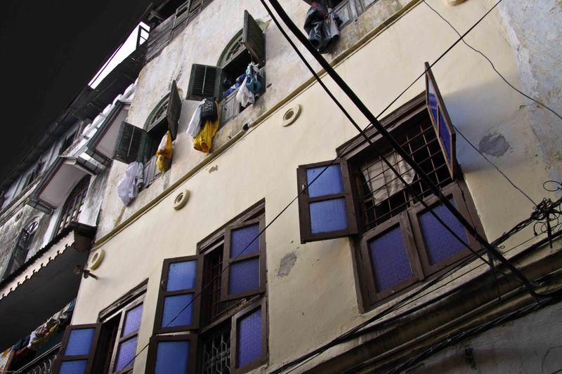 Blue Glass Windows. Stone Town, Zanzibar