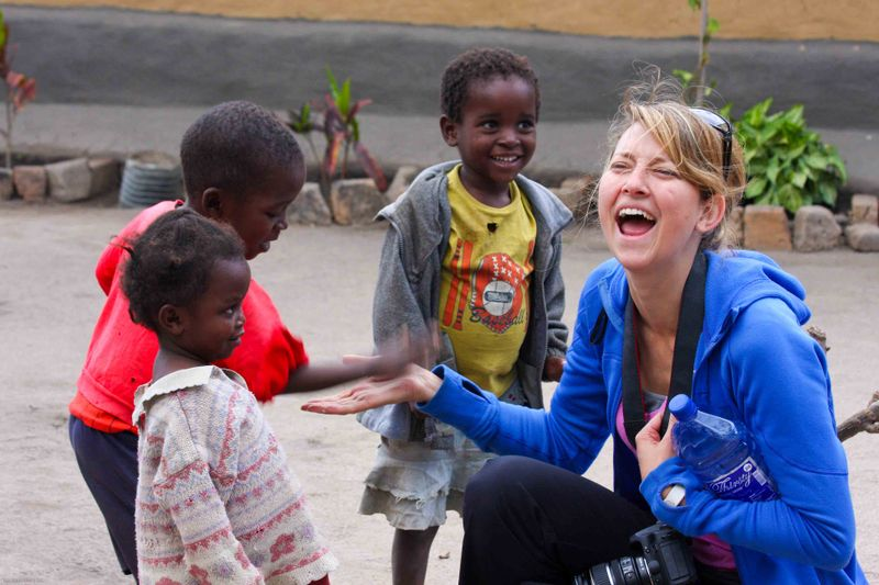 Kande, Malawi - Meg playing with kids