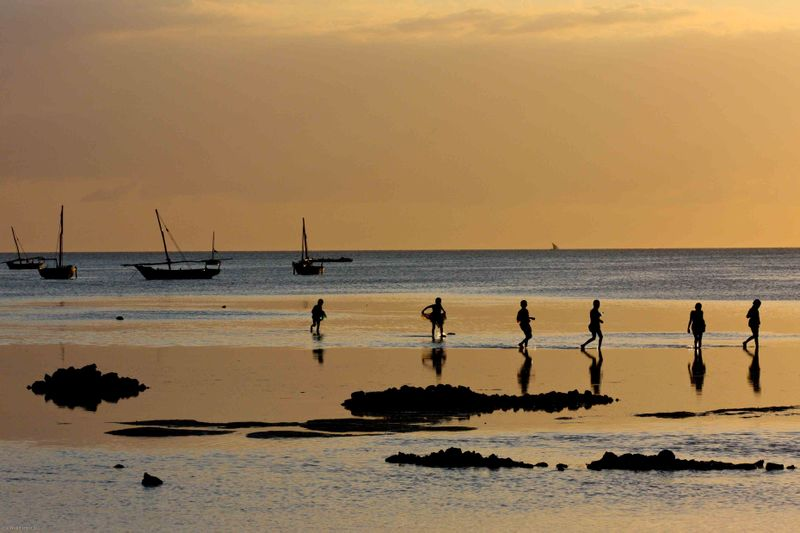 Nungwi, Zanzibar - kids on the shore at low tide