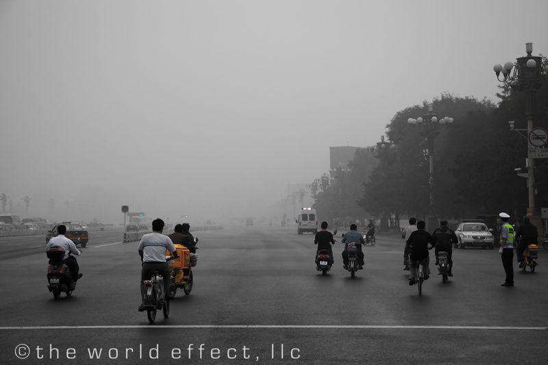 Last traffic before city lock down. Tiananmen Square, Beijing China