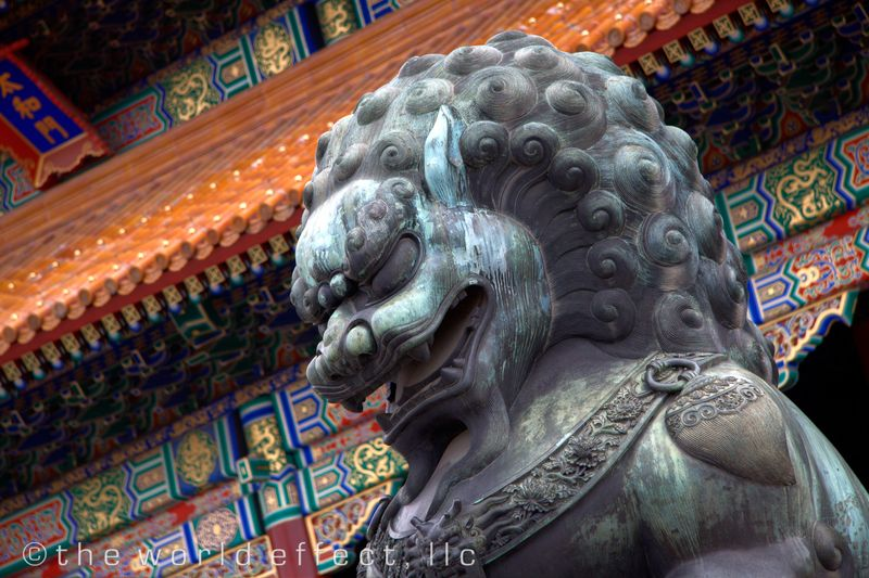 Lion in Forbidden City. Beijing, China
