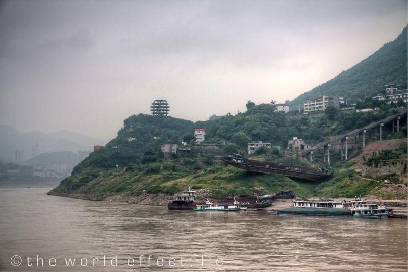 Grounded cargo ship. Yangtzee River, China