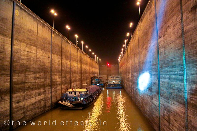 Going through the 3 gorges dam locks at night. Yangtze River, China