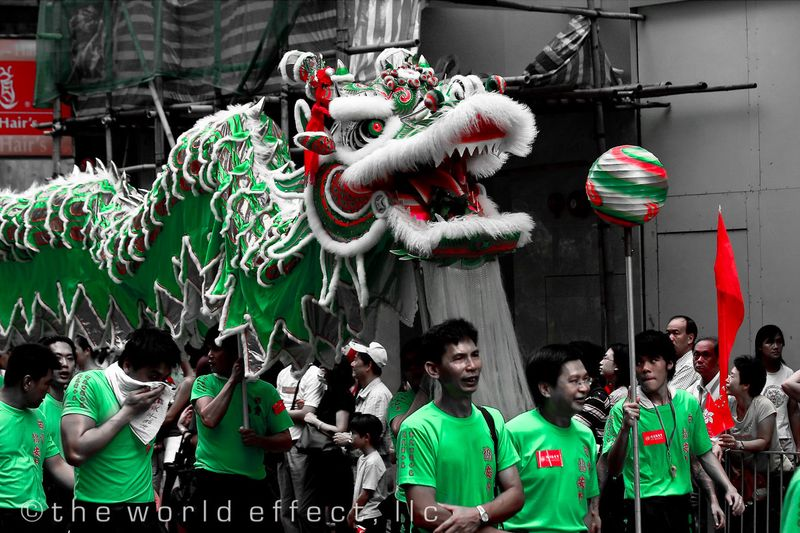 Dragon performers in parade. Hong Kong