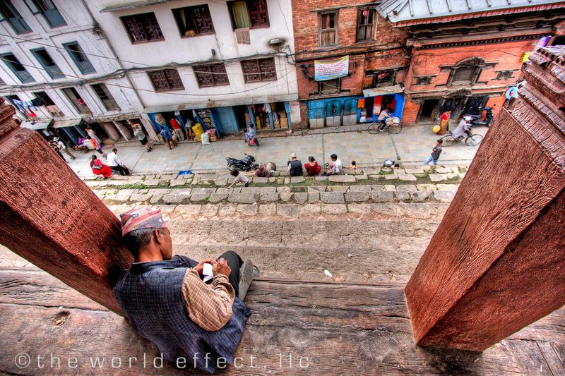 Man writing. Durbar Square. Kathmandu, Nepal