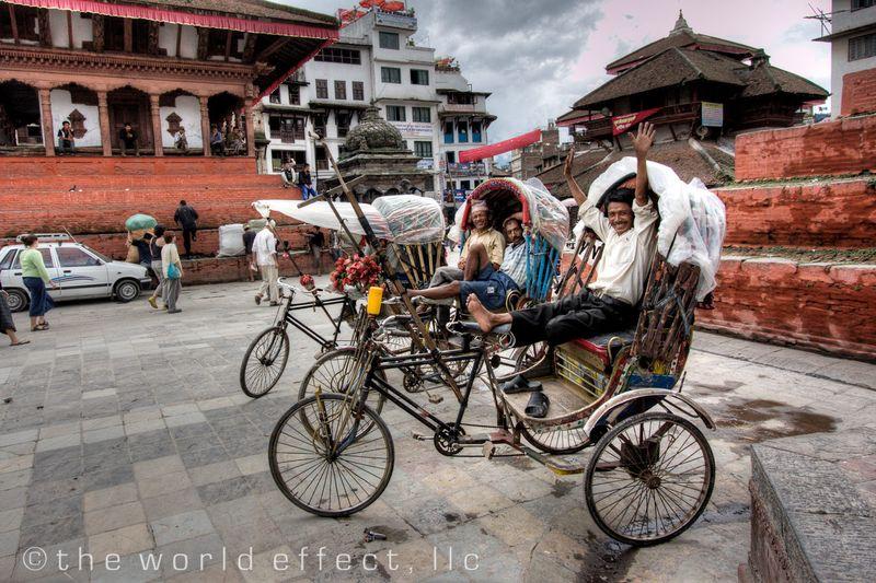 Rickshaw drivers. Durbar Square. Kathmandu, Nepal