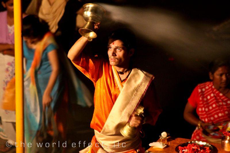 Night ceremony on the Ganges. Varanasi, India