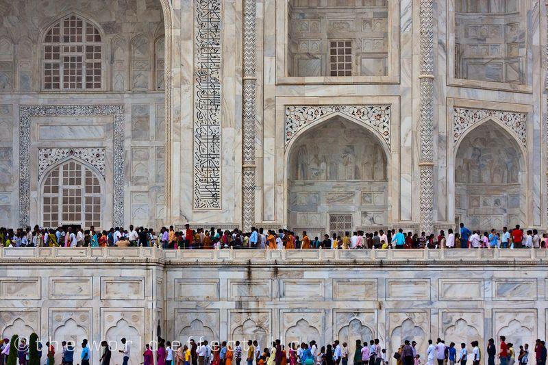 Two floors of lines at the Taj Mahal