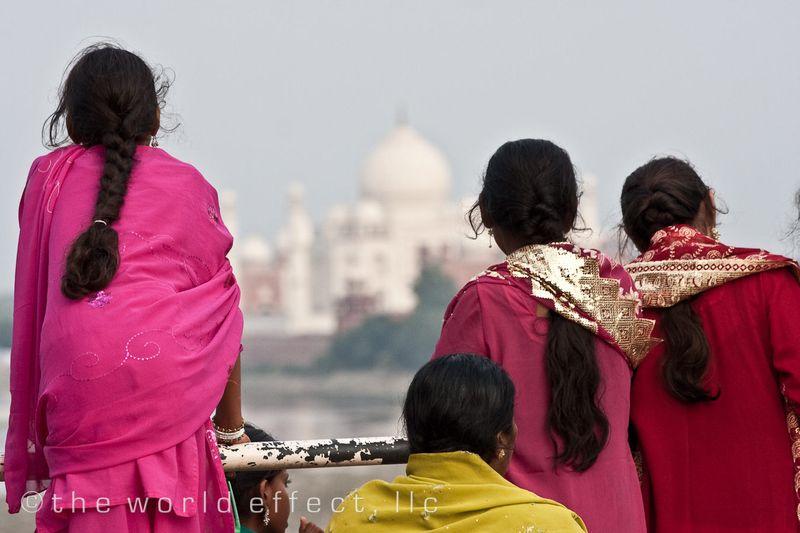 Agra Fort looking at the Taj Mahal
