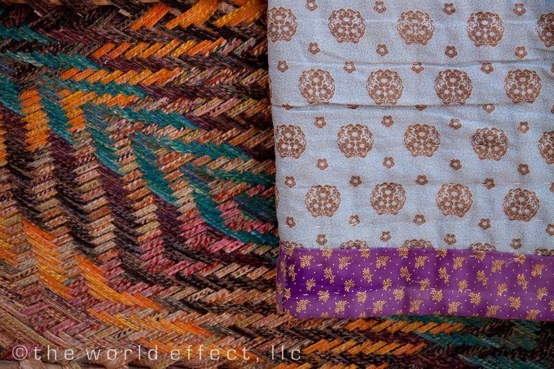 Handmade mats and blankets.