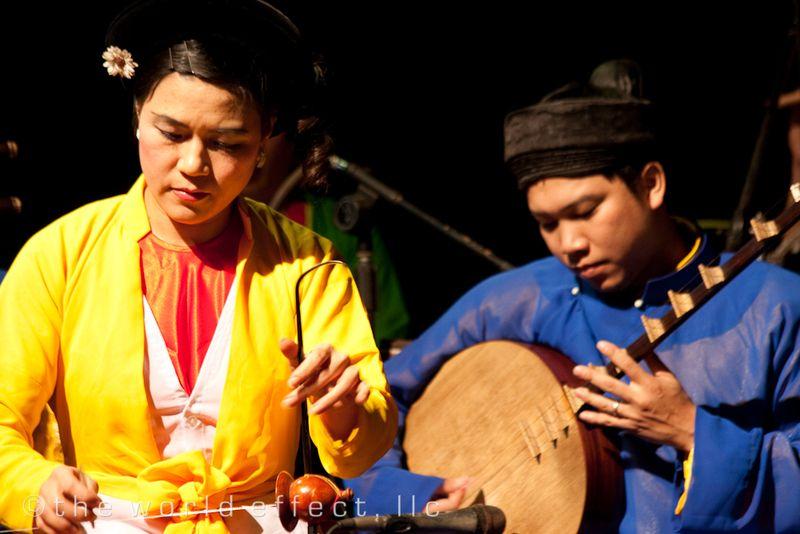 Hanoi, Vietnam - water puppets show musicians
