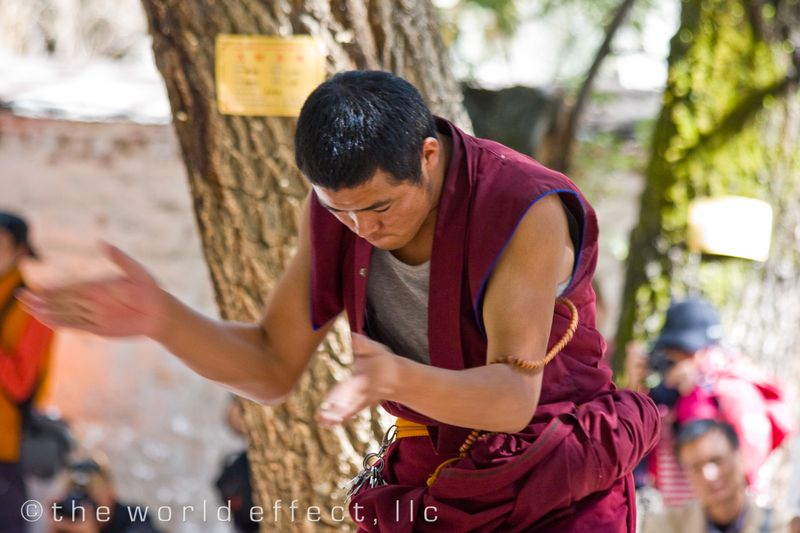 The Buddhist clap move. Sera Monastery, Lhasa, Tibet