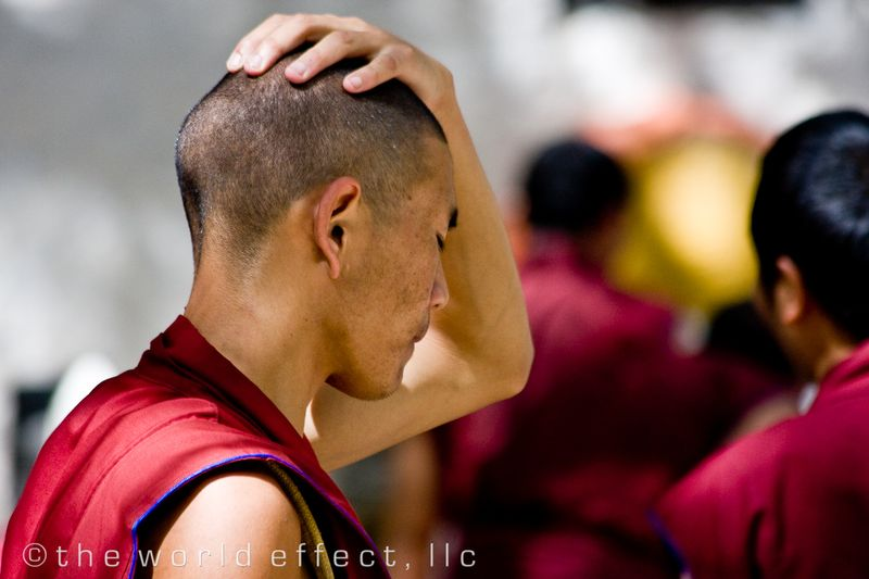 Deep in thought. Sera Monastery. Lhasa, Tibet