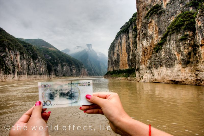 Picture in a picture: A Chinese friend holding up my 10 Yuan note picturing where we were.