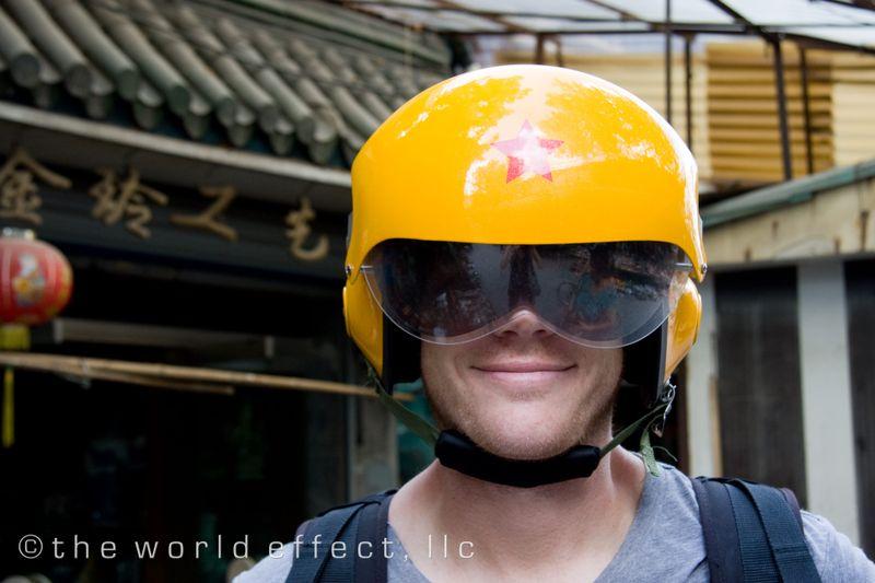 Shanghai, China - B in a Chinese Helmet