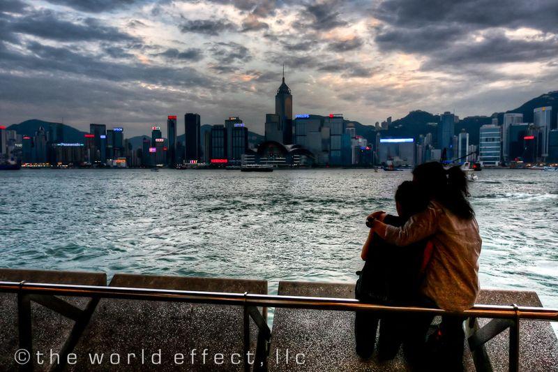 Hong Kong couple at sunset
