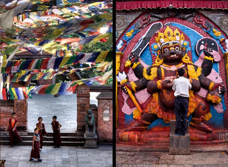 Left: Swayambunath. Right: Durbar Square. Kathmandu, Nepal