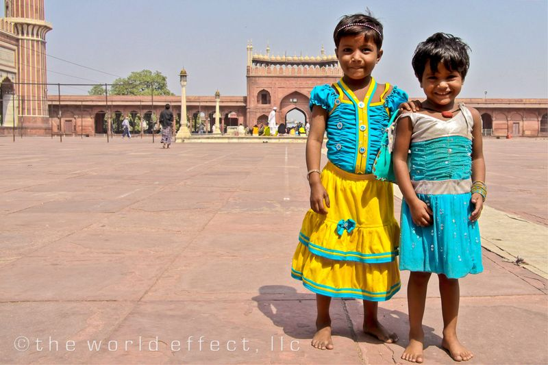 Little girls at the Jama Masjid. Delhi, India