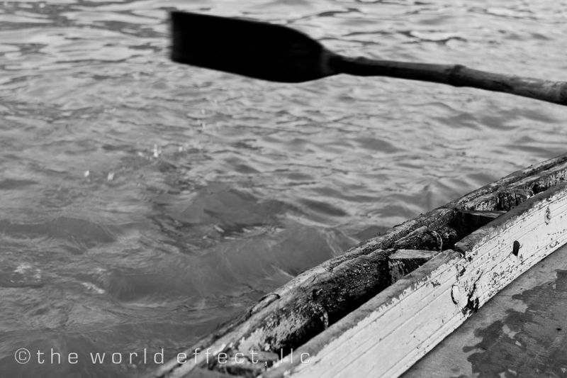 Oar in the Ganges. Varanasi, India