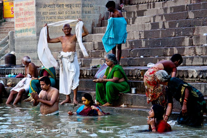 Bathers in the Ganges. Varansi, India