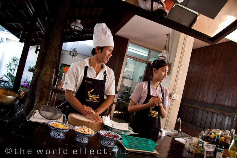Bangkok, Thailand - Chef and assistant at cooking class