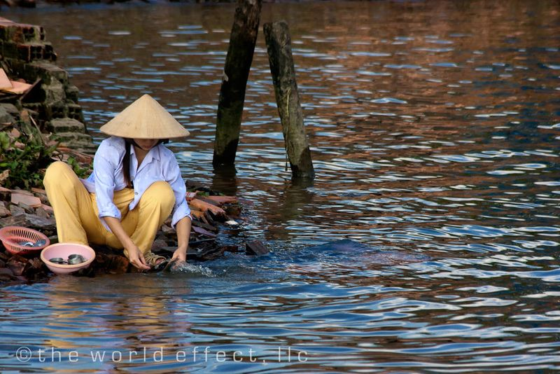 Life on the banks of the Mekong Delta, Vietnam