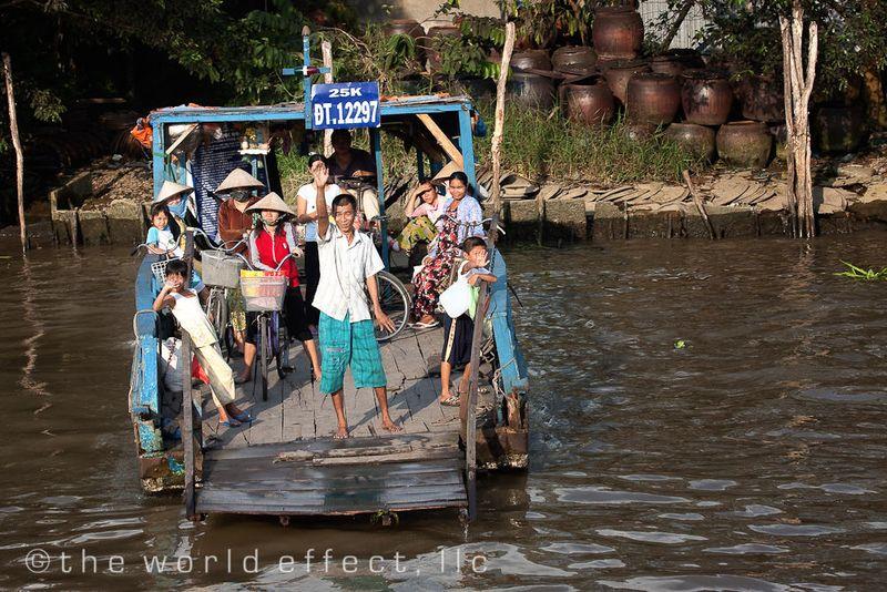 a ferry across the Mekong, Vietnam